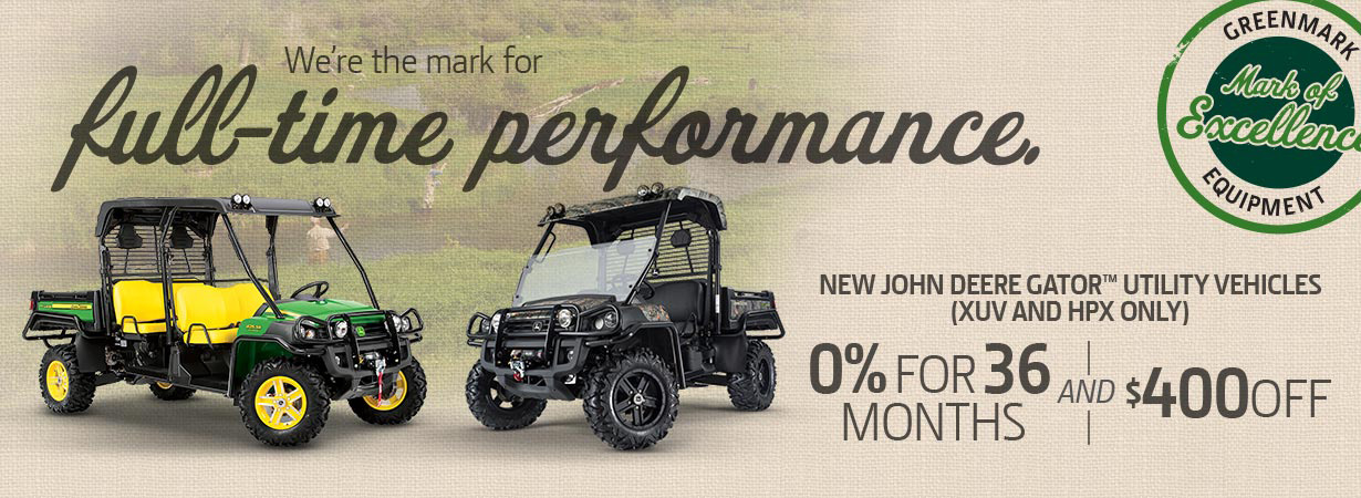 Zero for 36 on Select Gator Utility Vehicles